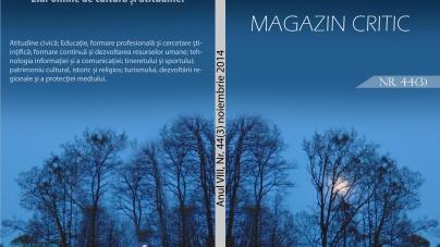 Eveniment: A apărut noul număr al revistei Magazin Critic, Nr. 44(3), noiembrie 2014