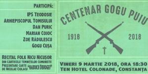 """Nu uitați! Vineri 9 martie 2018, ora 18,30. Centenar """"Gogu Puiu"""" la Constanța."""