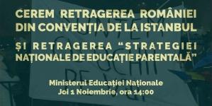 Protest la Ministerul Educației împotriva Convenției de la Istanbul!