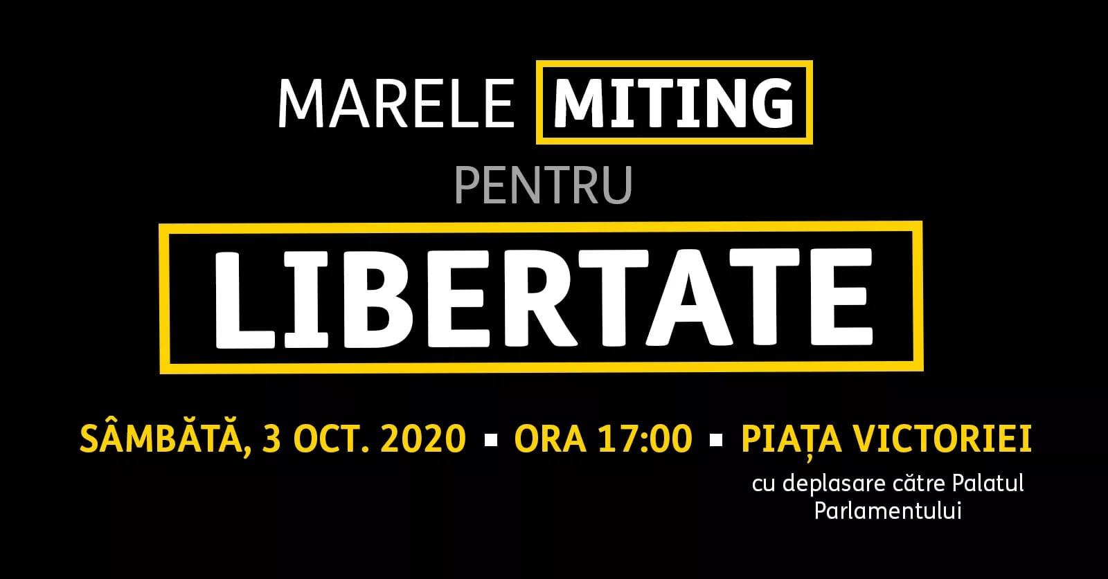 Se anunță un mare miting pentru libertate, astăzi, de la ora 17:00, în Piața Victoriei