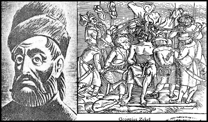 """La 20 iulie 1514, Gheorghe Doja, liderul răscoalei țărănești, este torturat în mod barbar şi executat prin aşezare pe un """"tron"""" înroşit în foc"""