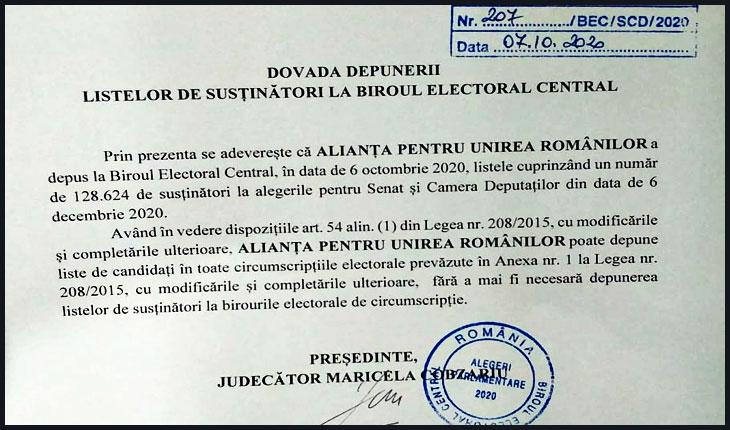 AUR este prima formațiune politică care a depus liste de semnături naționale, listă 100% formată din românii din Diaspora